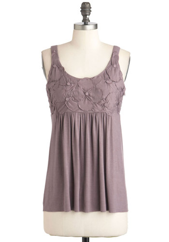 Astute as a Button Top - Solid, Flower, Casual, Tank top (2 thick straps), Purple, Mid-length
