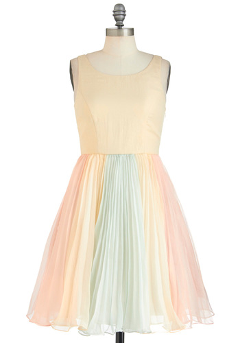 The Ethereal Thing Dress - Cream, Blue, Pink, Party, Pastel, Sheer, Mid-length, Fairytale, Sleeveless, Pleats, Graduation, Exclusives, Prom, Press Placement