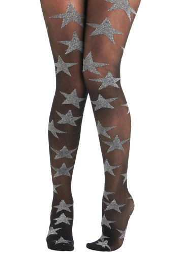 Those Shimmer Nights Tights - Sheer, Black, Silver, Print, Holiday Party