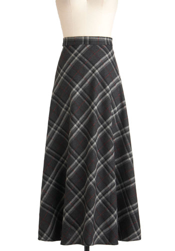 Best Plaid Plans Skirt - Grey, Red, Black, White, Plaid, A-line, Long, Winter, Holiday Sale