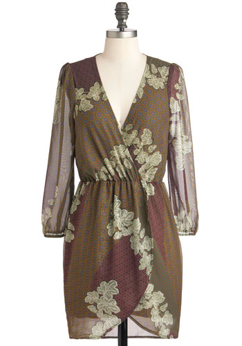 Design Concept Dress - Brown, Multi, Floral, Long Sleeve, Fall, Sheer, Short, Daytime Party, V Neck