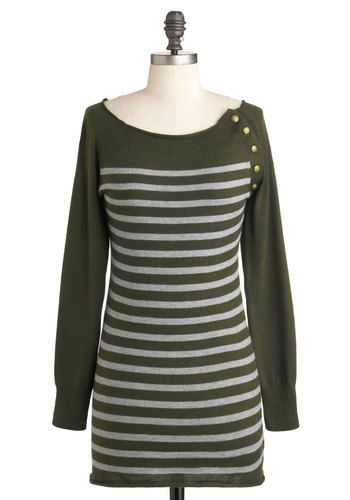 Cocoa Break Sweater - Long, Green, Grey, Stripes, Casual, Long Sleeve, Menswear Inspired
