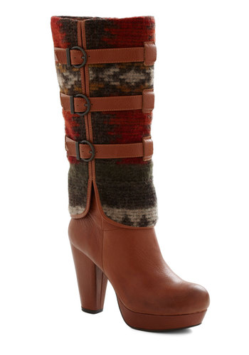 Downtown and Country Boot - High, Leather, Tan, Multi, Print, Buckles, Rustic, Platform, Tis the Season Sale