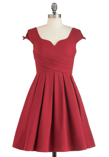 Nominee of the Night Dress - Red, Solid, Party, Holiday Party, Vintage Inspired, 50s, Luxe, Fit & Flare, Cap Sleeves, Exclusives, Mid-length