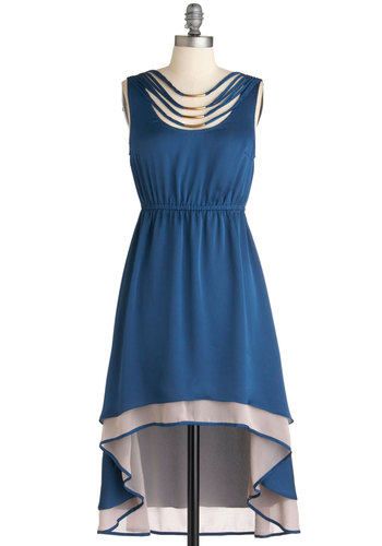 Teal Away with Me Dress - Mid-length, Blue, Tan / Cream, Beads, High-Low Hem, Sleeveless, Party, 70s, Boho