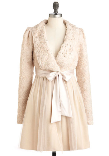 Meet in the Mezzanine Coat by Ryu - Cream, Beads, Long Sleeve, Formal, French / Victorian, Long, 2, Flower, Fall, Winter, Holiday Party