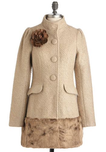 Don't Think Spice Coat by Ryu - Tan, Brown, Buttons, Flower, Pockets, Long Sleeve, 3, Party, Film Noir, Vintage Inspired, Winter, Long