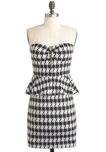 Houndstooth of the Matter Dress - Black, White, Houndstooth, Party, Exposed zipper, Peplum, Strapless, Sweetheart, Vintage Inspired, Mid-length