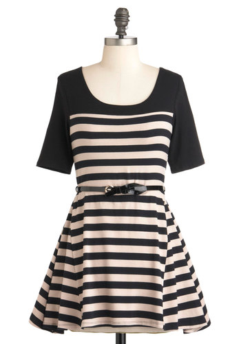Just My Getaway Tunic - Jersey, Cotton, Long, Tan / Cream, Black, Stripes, Casual, Short Sleeves, Nautical