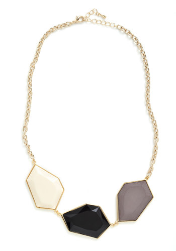 Quartz of Course Necklace - Multi, Gold, Tan / Cream, Black, Grey, Party, Casual, Statement, Bridesmaid