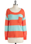 Sunset Sneaking In Sweater - Blue, Stripes, Pockets, Long Sleeve, Casual, Scholastic/Collegiate, Mid-length