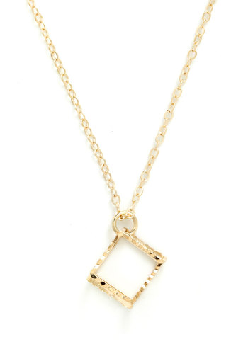 Right on Cube Necklace - Gold, Casual, Quirky