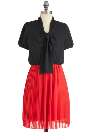 On My List Dress - Red, Pleats, Tie Neck, Short Sleeves, Mid-length, Black, Twofer