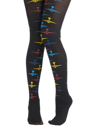If I Might Admiral Tights by Look From London - Black, Multi, Print, Nautical