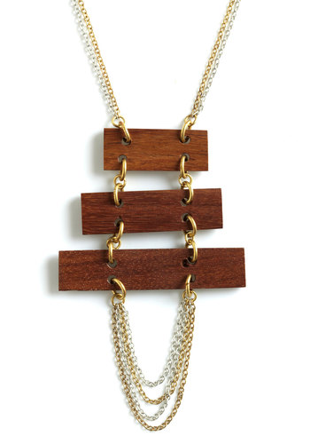 Treehouse Fete Necklace by Mata Traders - Brown, Gold, Solid, Casual, Rustic, Eco-Friendly