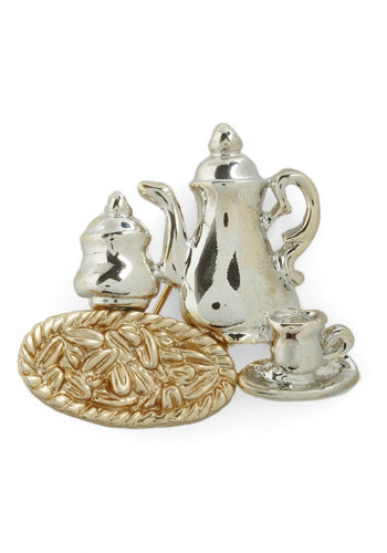 Tea Set the Scene Pin - Silver, Gold, Party, Vintage Inspired