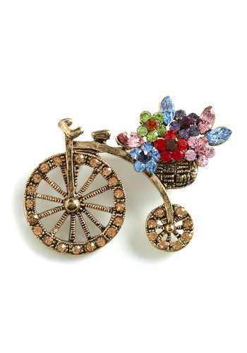 Petal Your Penny-farthing Pin - Gold, Multi, Rhinestones