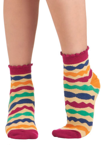 Make Your Marker Socks - Cream, Multi, Print, Ruffles, Casual, Vintage Inspired