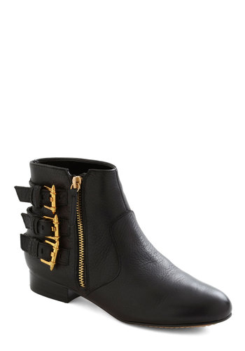 Parisian Promenade Bootie by Dolce Vita - Flat, Leather, Black, Gold, Buckles, Urban
