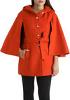 Euro Es-Cape Coat - Solid, Buttons, Winter, Long, 3, Casual, Holiday Party, Belted, Mod