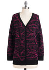 Dedicated to Love Cardigan - Black, Pink, Print, Buttons, Casual, Button Down, Long Sleeve, Mid-length