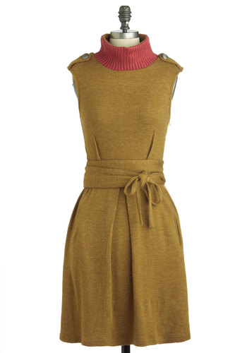 You Only Olive Once Dress - Mid-length, Yellow, Red, Epaulets, Pockets, Belted, Casual, Sweater Dress, Sleeveless, Fall, Knitted, Military