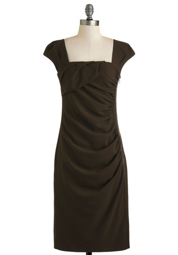 Chocolate for a Very Important Date Dress - Long, Brown, Solid, Ruching, Cocktail, Shift, Cap Sleeves, Work, Holiday Sale