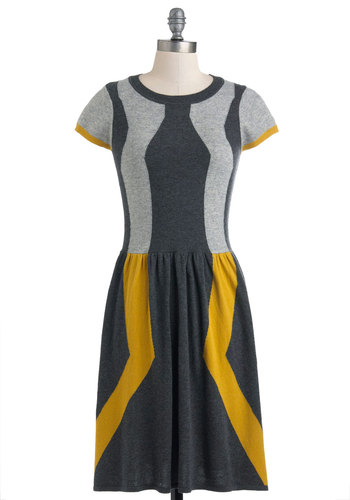 Go Down That Road Dress - Mid-length, Grey, Yellow, Casual, Colorblocking, A-line, Short Sleeves, Work, Vintage Inspired, Holiday Sale