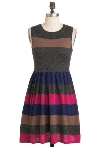 Knits All Good Dress - Short, Grey, Blue, Pink, Brown, Stripes, Casual, Colorblocking, A-line, Sleeveless, Sweater Dress, Knitted, Work, Holiday Sale