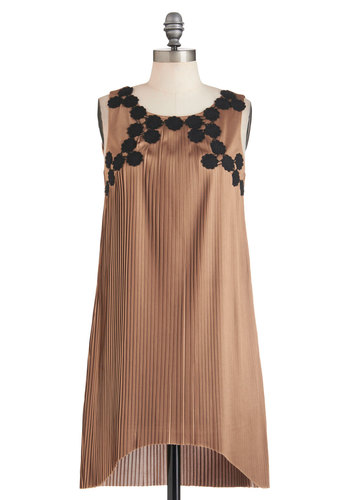 Age of Pizzazz Dress - Short, Tan, Black, Pleats, Party, Sack, Sleeveless, Solid, Flower, Holiday Party, Vintage Inspired, 20s