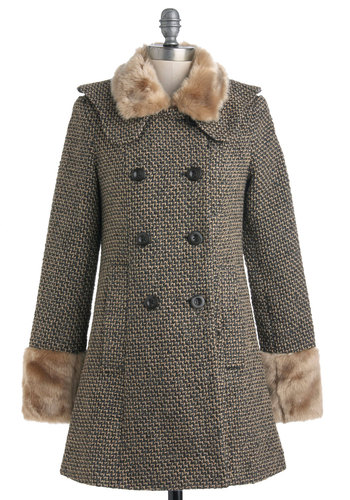 Glimmer with the Family Coat - Long, Tan / Cream, Grey, Buttons, Double Breasted, Long Sleeve, Winter, 3