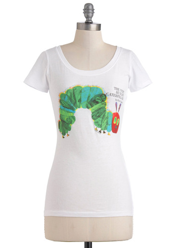 Novel Tee in Hungry Caterpillar by Out of Print - Red, Yellow, Green, Blue, Black, Casual, Short Sleeves, Quirky, Scholastic/Collegiate, Cotton, Mid-length