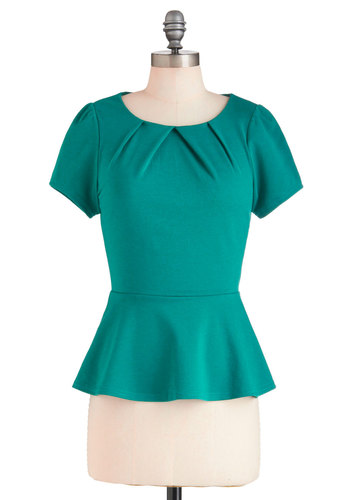 Bring Out the Peplum Top - Cotton, Mid-length, Green, Solid, Work, Peplum, Short Sleeves, Pleats