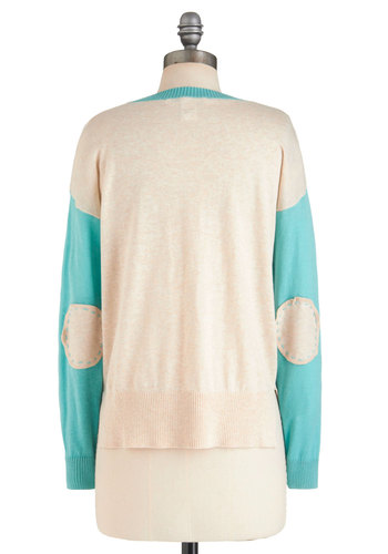 Sleeve It All Behind Sweater - Short, Cream, Blue, Casual, Long Sleeve, Menswear Inspired, Scholastic/Collegiate, Fall, Pastel