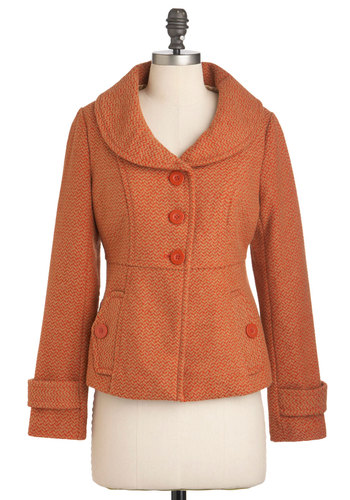 Piece of Carrot Cake Coat by Tulle Clothing - Short, Orange, Tan / Cream, Herringbone, Buttons, Pockets, Work, Long Sleeve, Fall, 2, Casual