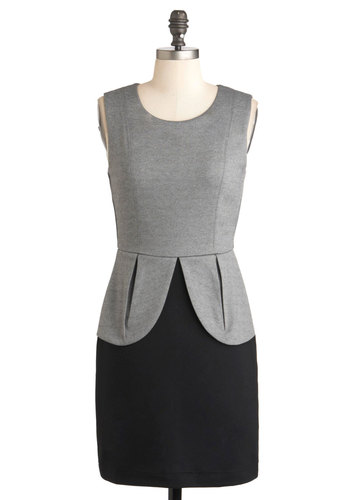 Petal Pro Dress - Jersey, Short, Black, Grey, Exposed zipper, Work, Sheath / Shift, Sleeveless, Twofer