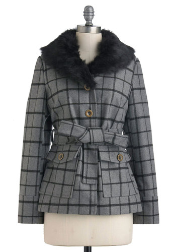Grid You Adieu Jacket by Tulle Clothing - Grey, Black, Checkered / Gingham, Buttons, Pockets, Long Sleeve, Fall, 3, Belted, Faux Fur, Mid-length