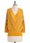Hayride Tradition Sweater in Honey by Tulle Clothing - Mid-length, Yellow, Stripes, Casual, 3/4 Sleeve, V Neck, Multi
