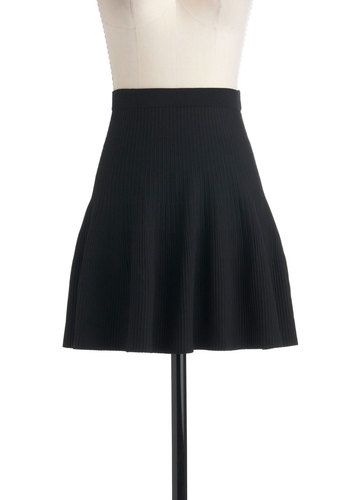 Short and Tweet Skirt - Black, Solid, A-line, Short