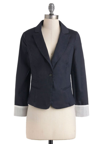 Calming Workspace Blazer - Blue, Solid, Buttons, Menswear Inspired, Long Sleeve, Cotton, Short, 1, Fall