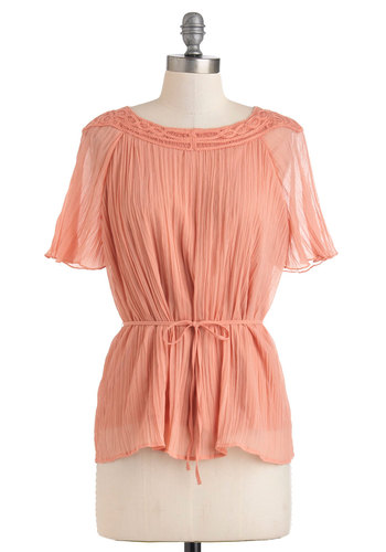 Papaya Sisterhood Top by Tulle Clothing - Mid-length, Pink, Solid, Work, Boho, Short Sleeves, Belted