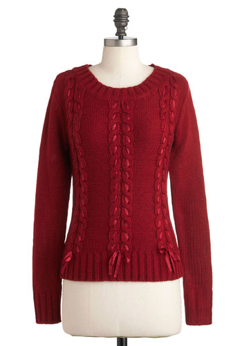 Plait It Cool Sweater - Mid-length, Red, Solid, Knitted, Trim, Casual, Long Sleeve, Fall