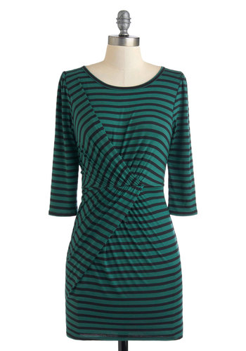 Bending the Rules Dress - Black, Stripes, Casual, 3/4 Sleeve, Short, Green, Bodycon / Bandage, Vintage Inspired, Fall, Jersey