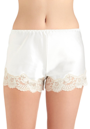 Luxurious Lounging Sleep Shorts - White, Tan / Cream, Solid, Lace, Wedding