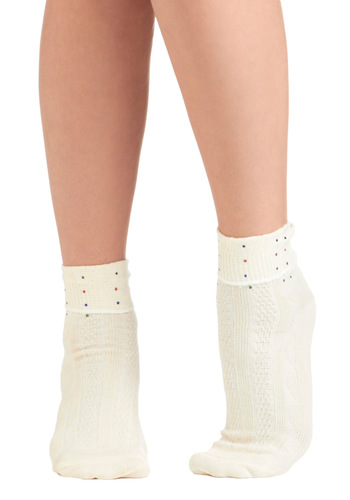 Jewel Look Sweet Socks by Look From London - White, Multi, Solid, Rhinestones, Knitted