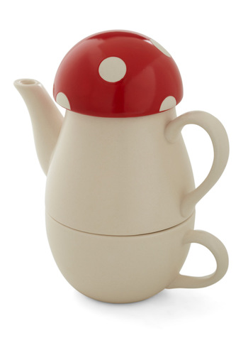 Shroom for Cream Tea Set - Red, Tan / Cream, Solid, Polka Dots, Vintage Inspired, Quirky, Tis the Season Sale