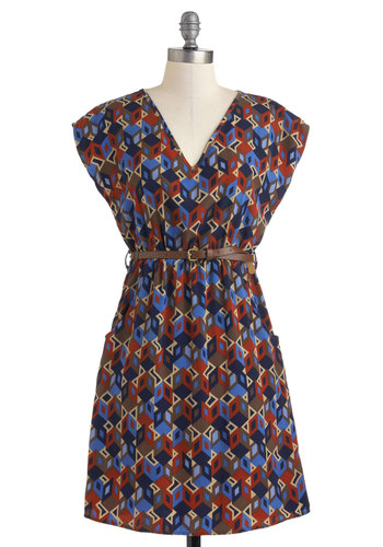 Block Off Time Dress - Mid-length, Multi, Red, Blue, Brown, Print, Pockets, Belted, Casual, Cap Sleeves, V Neck