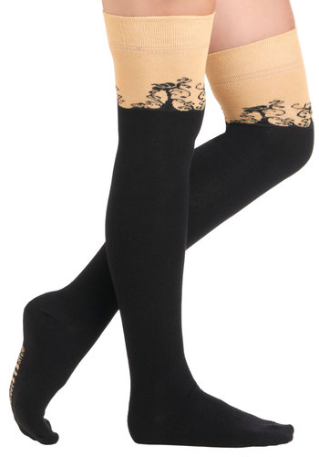 Swirling Shadow Socks - Black, Tan / Cream, Print, Casual, 90s