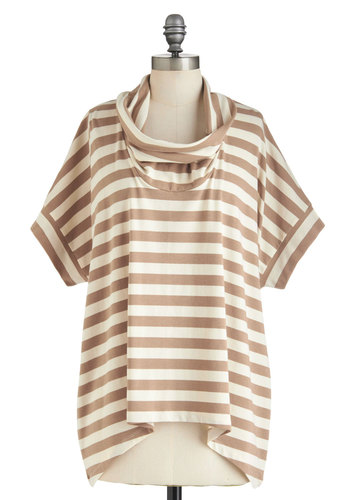 Bookstore Nook Top - Brown, Tan / Cream, Stripes, Casual, Short Sleeves, Mid-length