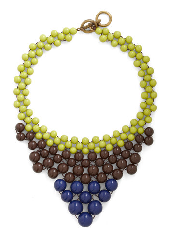 Just Bead Yourself Necklace in Earth - Multi, Green, Blue, Brown, Solid, Beads, Party, Statement